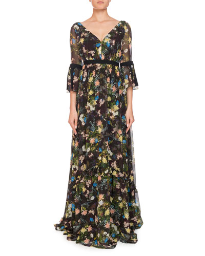 Petunia Floral Meadow Silk Maxi Dress