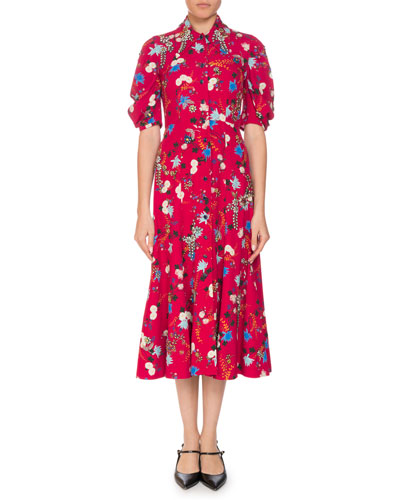 Gisela Floral Button-Front Midi Dress