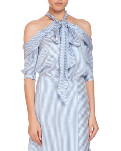 023ebfdad2ab0 Elin Striped Silk Cold-Shoulder Tie-Neck Top