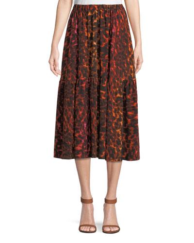 Neon Animal-Print Silk Full A-Line Midi Skirt