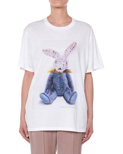 Stuffed-Animal Bunny Cotton T-Shirt