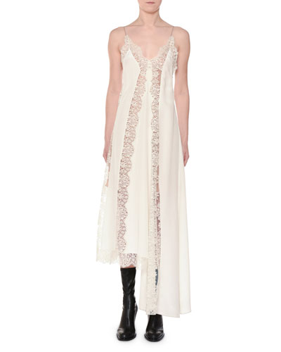 Angie Marocaine V-Neck Sleeveless Silk Lace Cami Dress