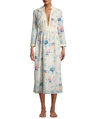 V-Neck Long-Sleeve Bird-Print A-Line Midi Dress