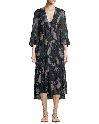 V-Neck 3/4-Sleeve Bird-Print Tiered Midi Dress