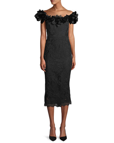 Off-the-Shoulder Floral-Lace Sheath Cocktail Dress w/ 3-D Velvet Flowers