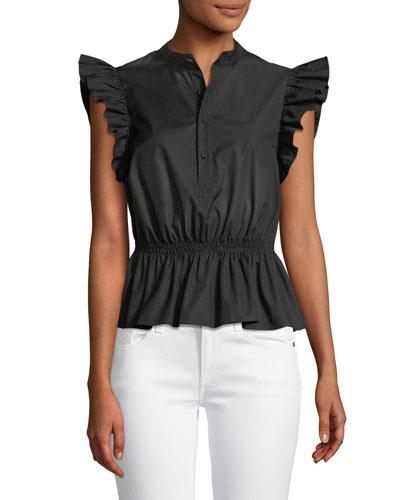 a20dc87faae07c Button-Front Cotton Poplin Peplum Top w/ Ruffle Sleeves