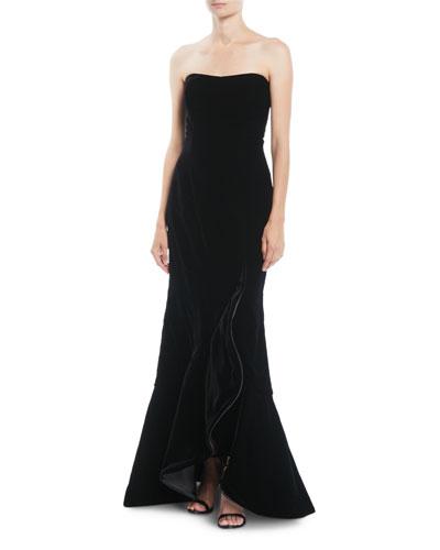 Strapless Ruffled-Front Velvet Evening Gown