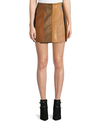 Patchwork Leather Mini Wrap Skirt