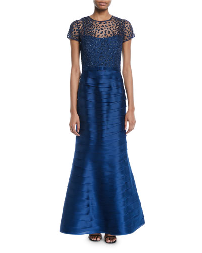 Embellished Top & Tiered Pleated Evening Gown w/Belt