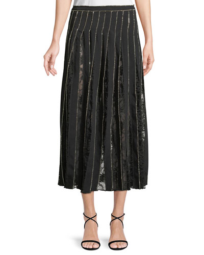 Crystal-Embroidered Pleated Silk Crepe A-Line Skirt w/ Lace