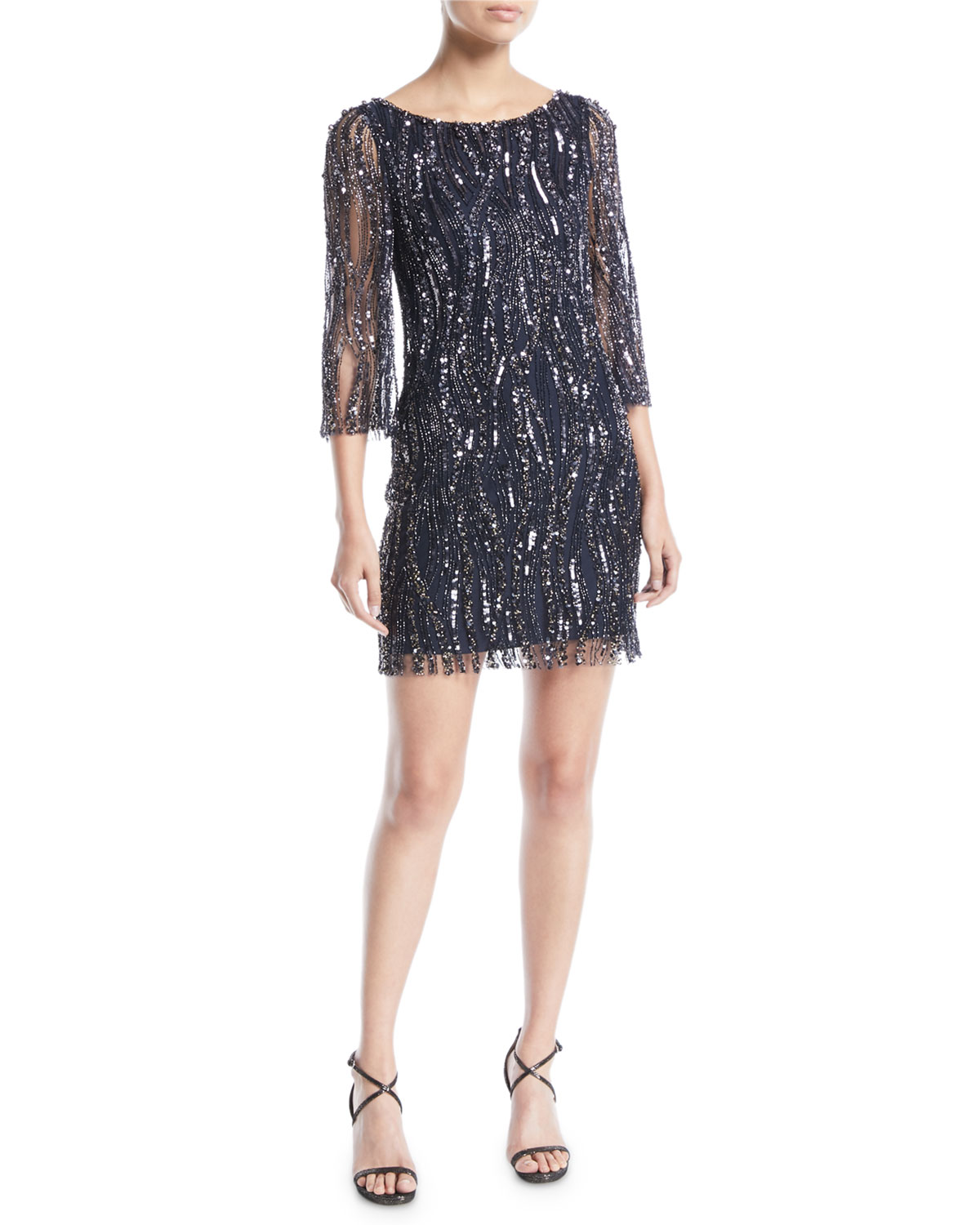 Round-Neck 3/4-Sleeve Beaded Cocktail Dress