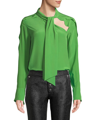 Long-Sleeve Tie-Neck Silk Blouse