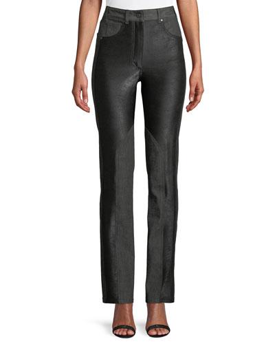 Dylan High-Waist Straight-Leg Coated Skinny Jeans