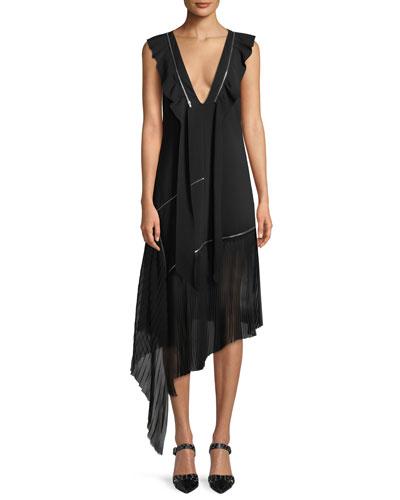 V-Neck Sleeveless Zipper Silk Crepe Asymmetric Midi Dress