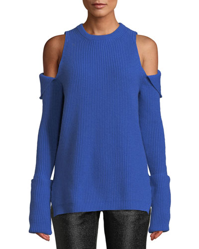 Crewneck Zip-Off Cold-Shoulder Ribbed Cashmere Pullover Sweater