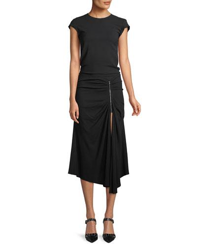 Kate Cap-Sleeve Ruched Zip-Waist Crepe Midi Dress