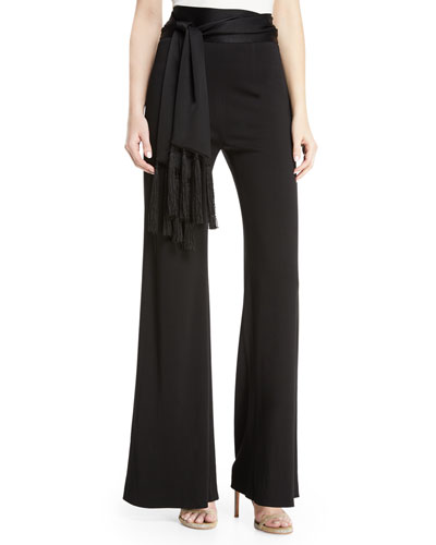 Sash-Waist Flared-Leg Jersey Pants