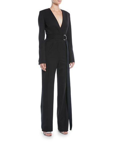 Long-Sleeve V-Neck Belted Jumpsuit