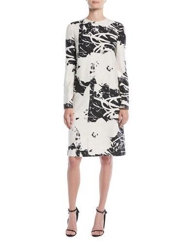 Andy Warhol Digital-Print Long-Sleeve Silk Dress