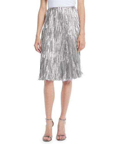 Kieman Metallic Pleated Knee-Length Cocktail Skirt