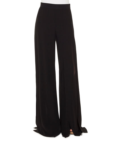 Triple-Layer Silk Georgette Slit Wide-Leg Pants