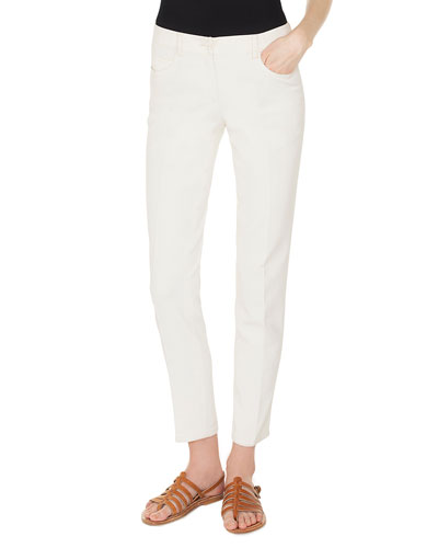 Slim-Leg Cotton-Stretch Pants