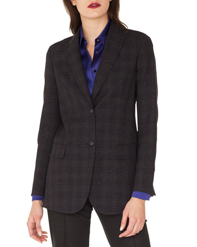 Tweed Long-Sleeve Wool Jacket