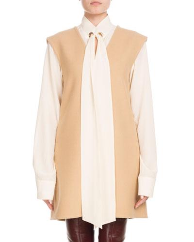 Sleeveless V-Neck Wool Jumper Dress