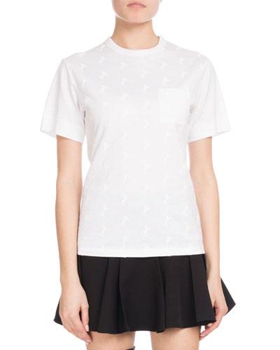 Crewneck Short-Sleeve Horse-Print Cotton Jersey T-Shirt w/ Pocket