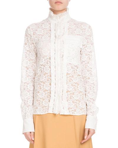 Long-Sleeve Mock-Neck Button-Front Floral-Lace Blouse