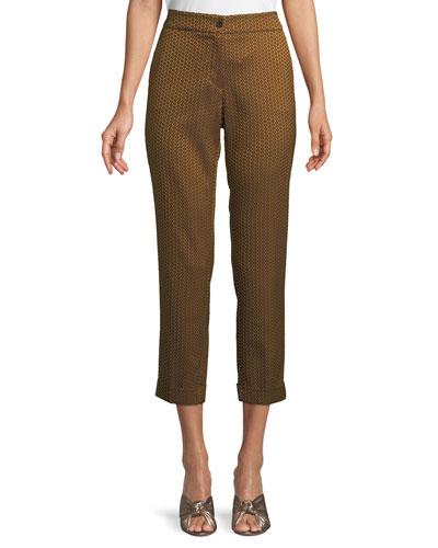 High-Rise Straight-Leg Tile-Print Cropped Pants