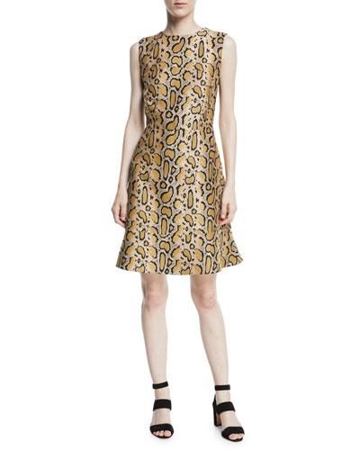 Leopard-Print Sleeveless A-line Dress