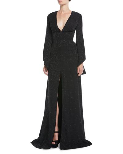 V-Neck Long-Sleeve Pineapple-Jacquard Front-Slit Evening Gown