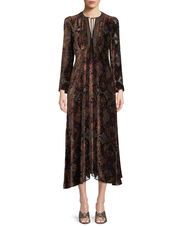 Paisley-Print Velvet A-Line Granny Dress W/ Cravat Trim, Multi Pattern