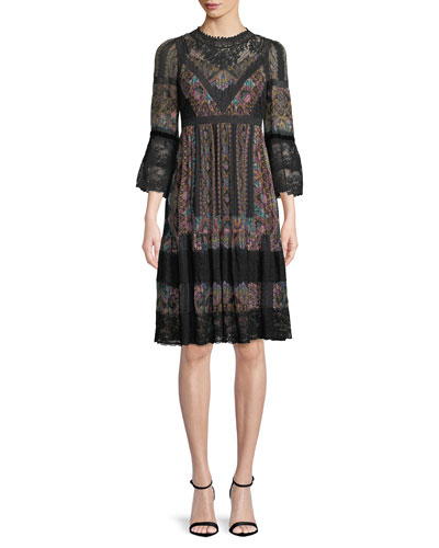 3/4-Sleeve Paisley-Print Peasant Dress w/ Lace