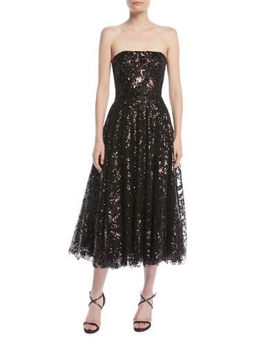 Strapless Fit-and-Flare Sequined Tea-Length Evening Dress