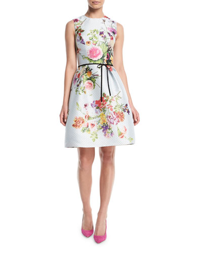 Sleeveless A-Line Floral-Print Polka-Dot Mikado Cocktail Dress w/ Belt