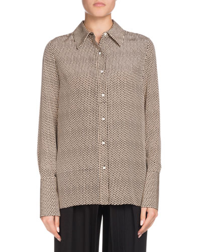 Long-Sleeve Button-Down Dot-Print Silk Shirt