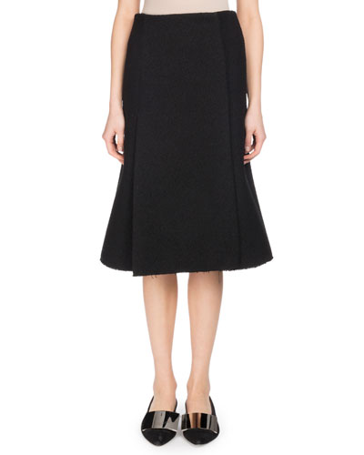 A-Line Boucle Suiting Midi Skirt