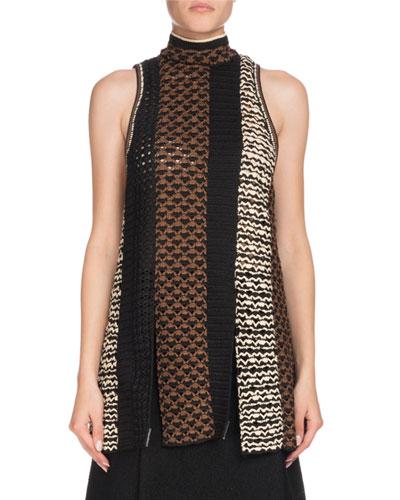 Sleeveless Tie-Neck Multicolor Crochet Tunic