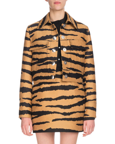 Tiger-Jacquard Snap-Front Cropped Jacket