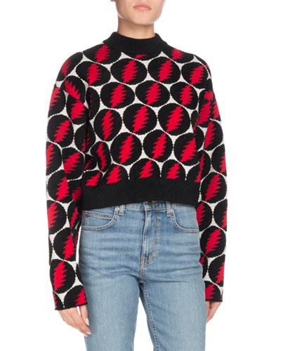 Crewneck Long-Sleeve Lightning-Bolt Pullover Sweater