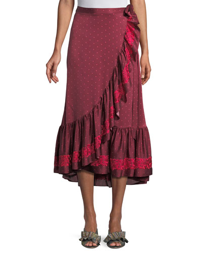 Aurora Dotted Silk Satin Midi Ruffled Wrap Skirt with Floral Embroidery