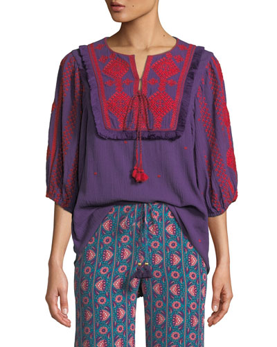Sia Embroidered Cotton Gauze Top