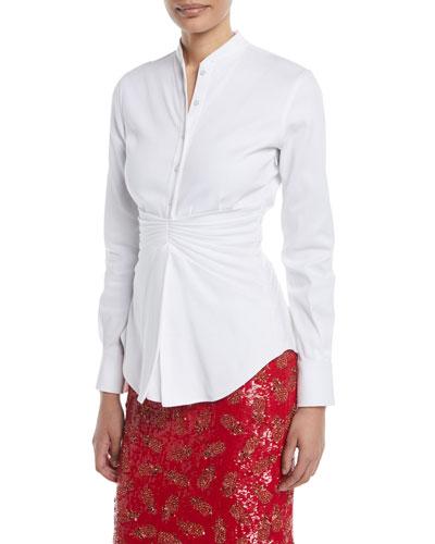 Pleated-Waist Button-Front Long-Sleeve Cotton Shirt