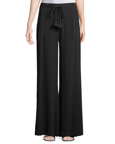 Ella Side-Stripe Wide-Leg Georgette Pants