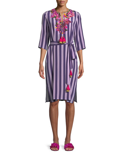 Julia 3/4-Sleeve Striped Silk Dress w/ Floral-Embroidery