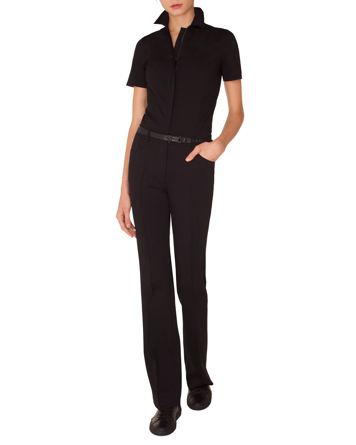 Akris Punto Suits SHORT-SLEEVE STRAIGHT-LEG STRETCH-CADY JUMPSUIT W/ LEATHER BELT