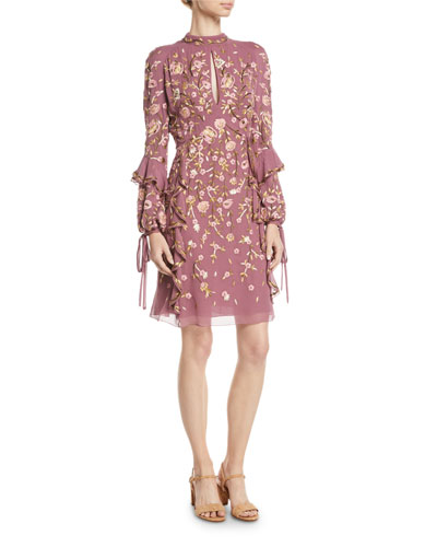 High-Neck Long-Sleeve Floral-Embroidered Silk A-Line Dress