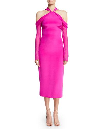 Halter-Neck Cold-Shoulder Sheath Cocktail Dress